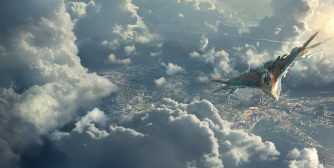 guardians-of-the-galaxy-2014-001-fighter-plane-over-city-through-clouds